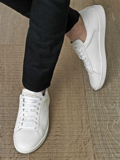 Saint Laurent Leather Lace Up Trainers in White for Men - Lyst