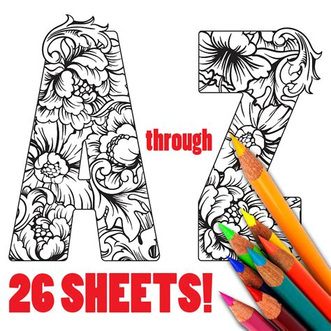 ALPHABET Floral Flowers Adult Coloring Sheets Coloring