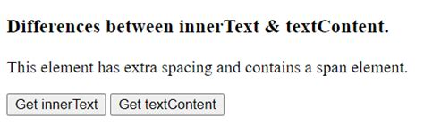 Difference between textContent and innerText - GeeksforGeeks