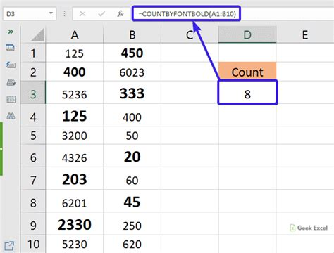 Formulas for Counting the Number of Bold Cells in a Range