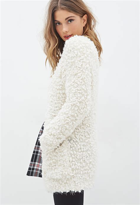 Forever 21 Fuzzy Popcorn Knit Cardigan in Natural | Lyst