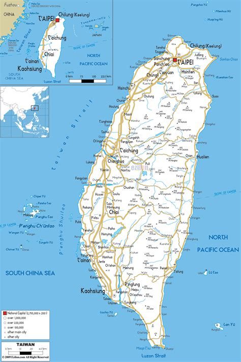 Detailed Clear Large Road Map of Taiwan - Ezilon Maps