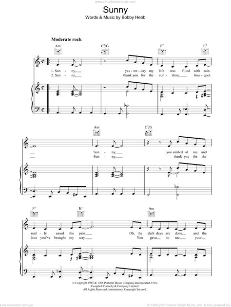 Hebb - Sunny sheet music for voice, piano or guitar [PDF]