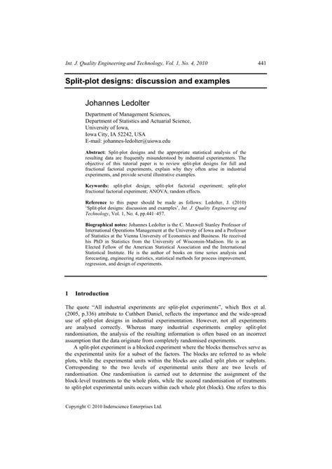 (PDF) Split-plot designs: discussion and examples