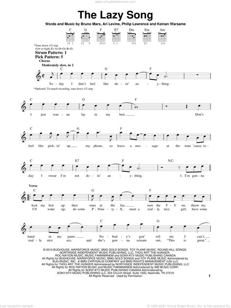 Mars - The Lazy Song sheet music for guitar solo (chords