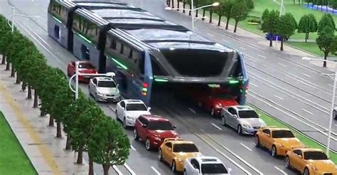 China's Elevated Bus Can Drive Above Traffic Jams