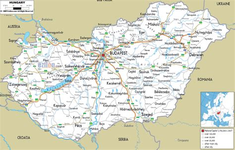 Detailed Clear Large Road Map of Hungary - Ezilon Maps