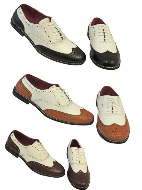 Vintage 1920 s 30 s 40 s mens Two Tone Wing tip Spectator