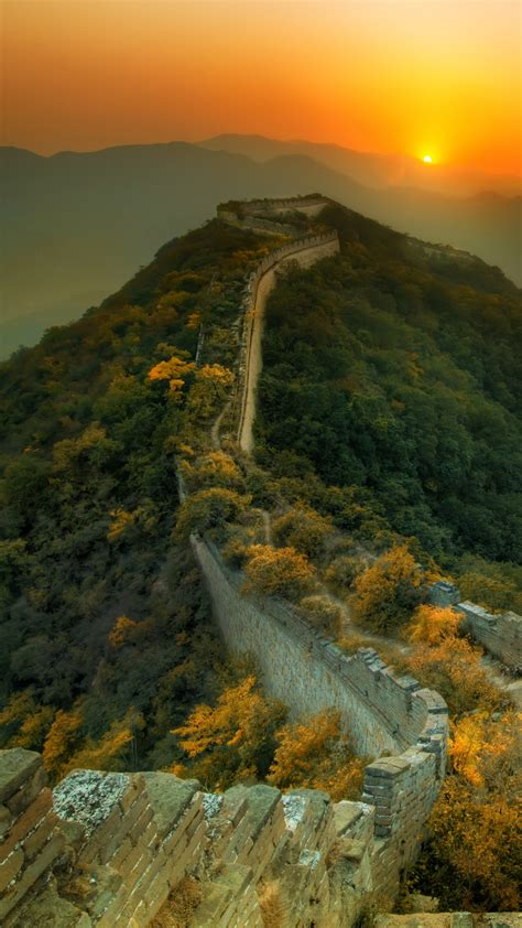 Wallpaper Great Wall of China, travel, tourism, sunset