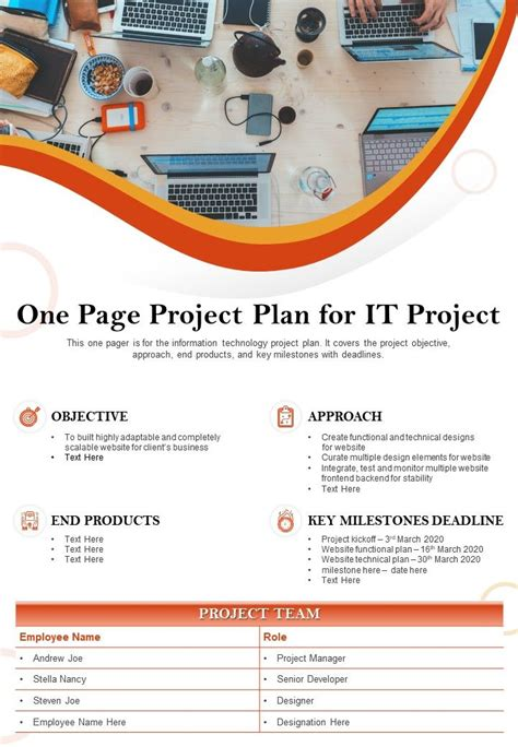 One Page Project Plan For It Project Presentation Report