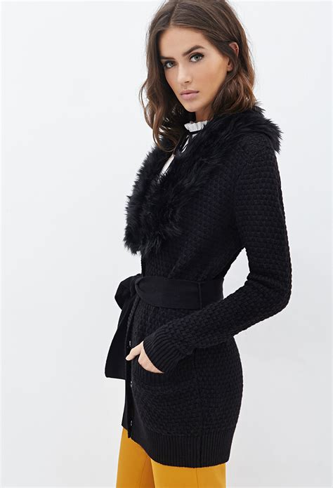 Forever 21 Contemporary Faux Fur Collar Cardigan in Black